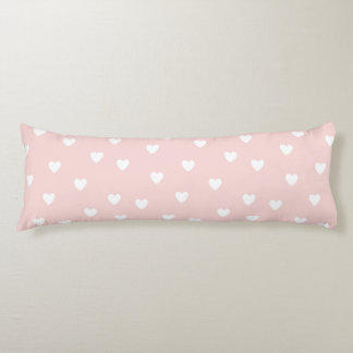 Blush Pink with White Hearts | Kids or Nursery Body Pillow
