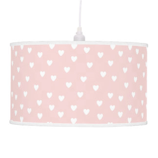 Blush Pink with White Hearts | Kids or Nursery Pendant Lamp