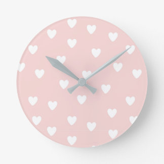 Blush Pink with White Hearts | Kids or Nursery Round Clock