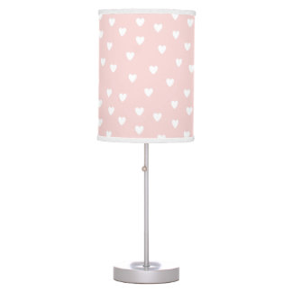 Blush Pink with White Hearts | Kids or Nursery Table Lamp