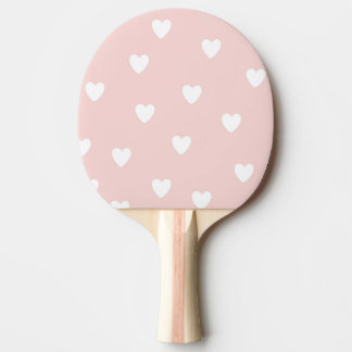 Blush Pink with White Hearts Ping Pong Paddle