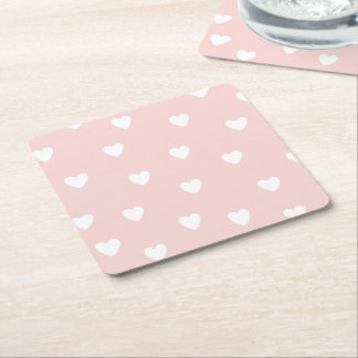 Blush Pink with White Hearts Square Paper Coaster