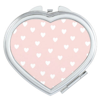 Blush Pink with White Hearts Vanity Mirrors