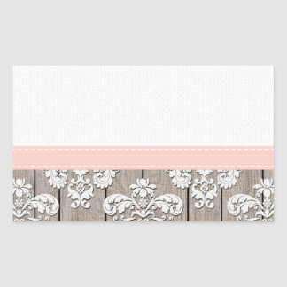 Blush Pink Wood Lace Rustic Sticker