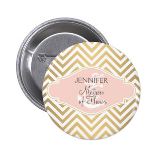 Blush Preppy Chevron Stripe Modern Nautical Anchor 2 Inch Round Button