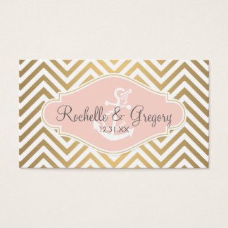 Blush Preppy Chevron Stripe Modern Nautical Anchor Business Card