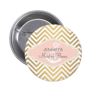 Blush Preppy Chevron Stripe Modern Nautical Anchor Pins