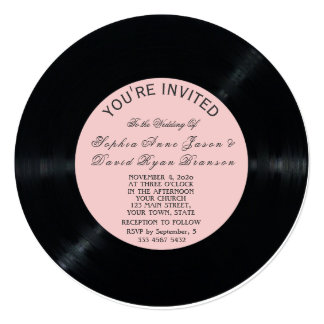 Blush Retro Vinyl Record Wedding Invitation
