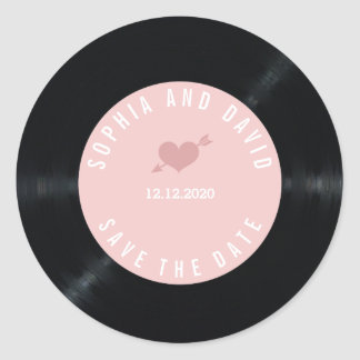 Blush Retro Vinyl Record Wedding SAVE THE DATE Classic Round Sticker