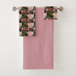 Blush Rhododendrons Floral Bath Towel Set