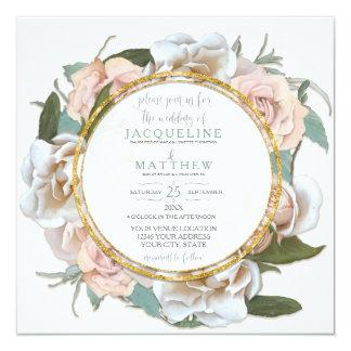 Blush Rose Floral Gold Modern Typography Script Card