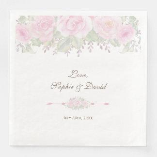 Blush Rose Garden Floral Wedding Disposable Napkin