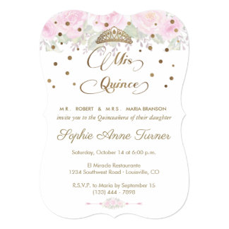 Blush Rose Garden Mis Quince Script Quinceañera Card