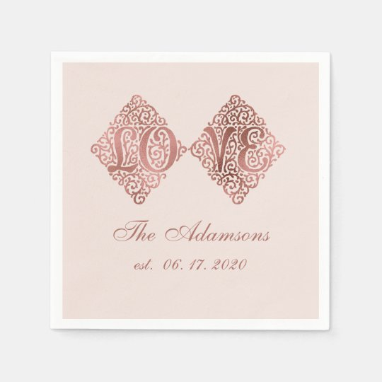 Blush Rose Gold Engraved LOVE Calligraphy Wedding Paper Napkin