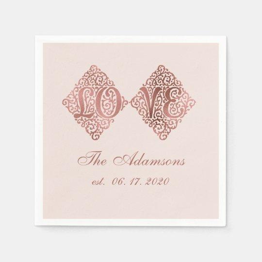 Blush Rose Gold Engraved LOVE Calligraphy Wedding Paper Napkins