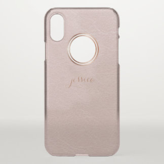 Blush Rose Gold Faux Visual Texture Personalized iPhone X Case