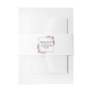 Blush & Rose Gold Framed Floral Wedding Invitation Invitation Belly Band