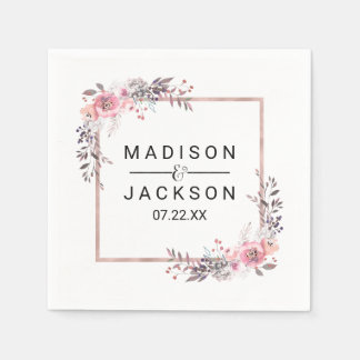 Blush & Rose Gold Framed Floral Wedding Monogram Disposable Napkins