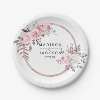 Blush & Rose Gold Framed Floral Wedding Monogram Paper Plate