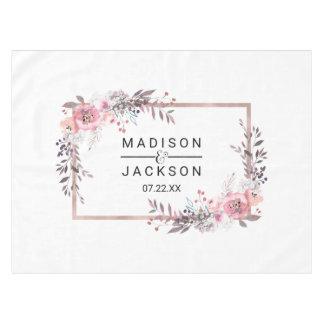 Blush & Rose Gold Framed Floral Wedding Monogram Tablecloth