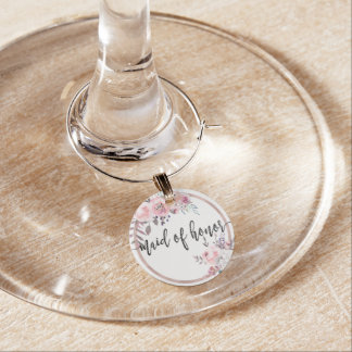 Blush & Rose Gold Framed Wedding Maid of Honour Wine Charm