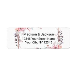 Blush & Rose Gold Framed Wedding Return Address