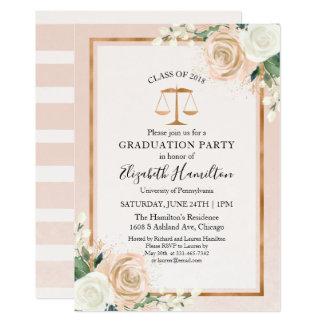 Blush & Rose Gold Law School Graduation Party Card