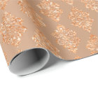 Blush Rose Gold Peach Copper Floral Damask Wrapping Paper