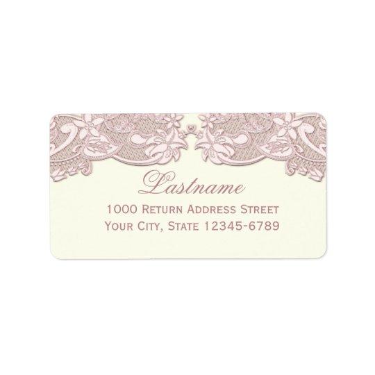 Blush Rose Pink Floral Lace Vintage Design Label