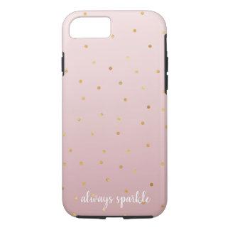 Blush Rose Pink Ombre Gold Confetti Sparkle Case-Mate iPhone Case