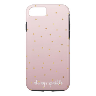 Blush Rose Pink Ombre Gold Confetti Sparkle iPhone 8/7 Case