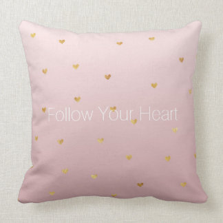 Blush Rose Pink Ombre Gold Hearts Throw Pillow