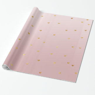 Blush Rose Pink Ombre Gold Hearts Wrapping Paper