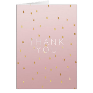 Blush Rose Pink Ombre Gold Leaves Card