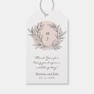Blush Rustic Monogram Wreath Wedding Favor Tag