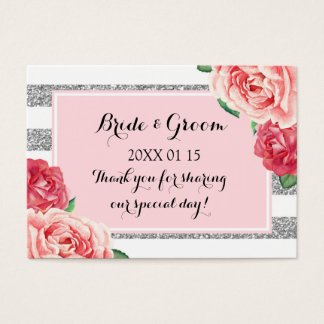 Blush Silver Pink Floral Wedding Favor Tags