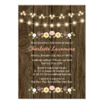 "Blush String of Lights Fall Rustic Baby Shower 5"" X 7"" Invitation Card"