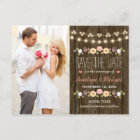 Blush String of Lights Rustic Fall Save the Date Announcement Postcard