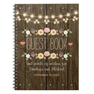 Blush String of Lights Rustic Fall Wedding Guest Notebooks