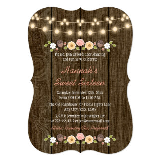 "Blush String of Lights Rustic Sweet 16 5"" X 7"" Invitation Card"