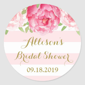 Blush Stripe Pink Floral Bridal Shower Favor Tag Round Sticker