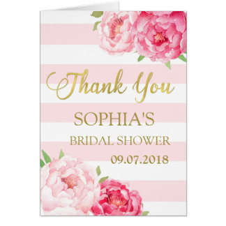 Blush Stripes Pink Floral Bridal Shower Thank You Greeting Card