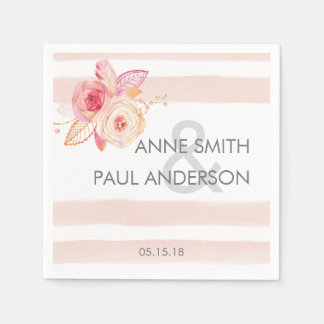Blush stripes with floral wedding Napkins Paper Napkins
