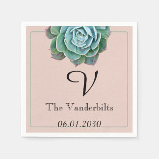 Blush Succulent Monogram Wedding Napkin Disposable Napkins