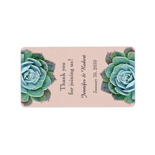 Blush Succulent Wedding Lip Balm Label