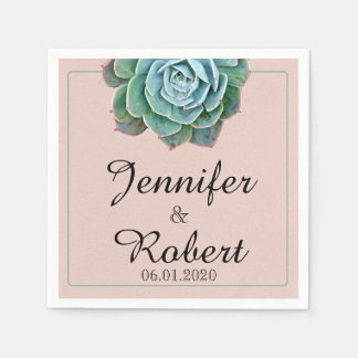 Blush Succulent Wedding Napkin Disposable Napkins