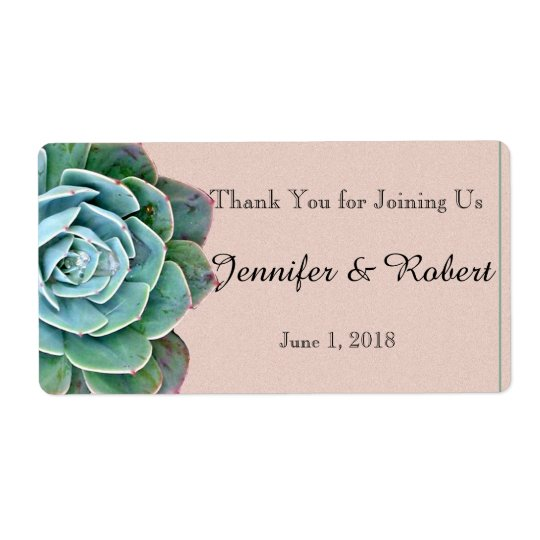 Blush Succulent Wedding Water Bottle Label Shipping Label