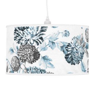 Blush Teal Blue & Black & White Botanical Floral Hanging Pendant Lamp