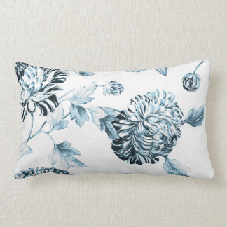 Blush Teal Blue Botanical Floral Toile No.2 Lumbar Pillow