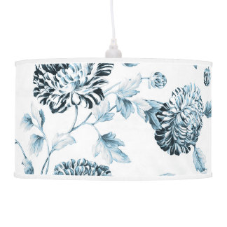 Blush Teal Blue Botanical Floral Toile No.2 Pendant Lamp